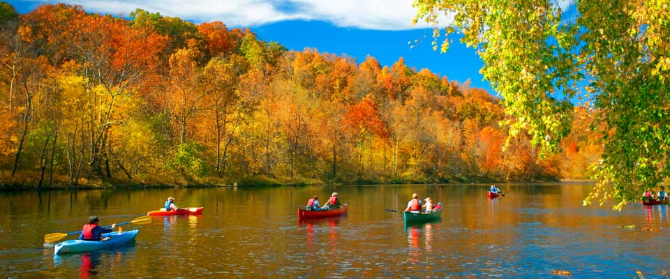 kayaking the Upper James in fall